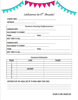 Editable Student/Parent Information Sheet for Middle & High School Teachers