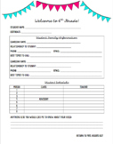 Editable Student/Parent Information Sheet for Middle & Hig
