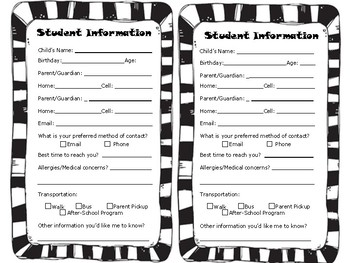 Student Information Sheet (Elementary)