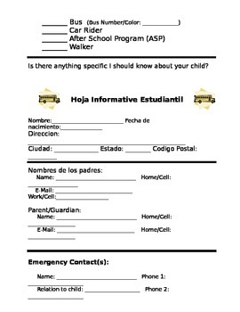 Student Information Sheet (English and Spanish)