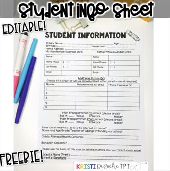 Student Information Sheet- FREEBIE