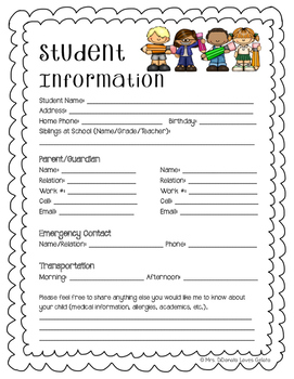 Student Information Sheet FREEBIE