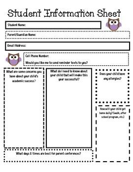 Student Information Sheet {Free}