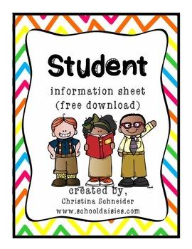 Student Information Sheet Free Download