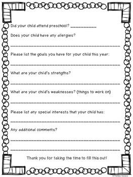 Student Information Sheet {Freebie!}