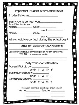 Student Information Sheet Freebie