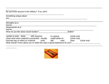Student Information Sheet - Get to know you, Ice breaker worksheet