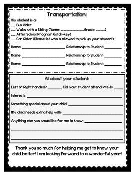 Student Information Sheet Kindergarten (English and Spanish)
