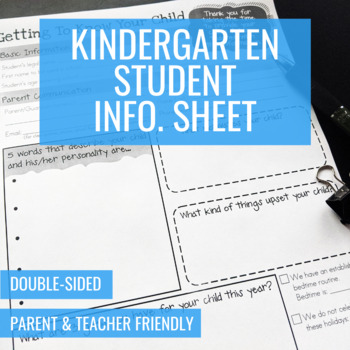 Kindergarten Student Information Sheet