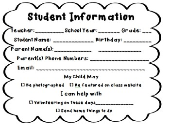 Student Information Sheet Open House B/W