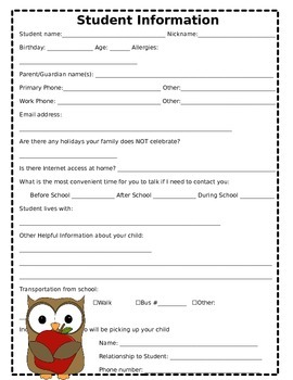 Student Information Sheet - Owl Theme