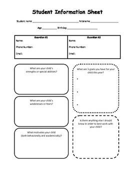 Student Information Sheet PDF