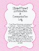 Student Information Sheet & Parent Communication Log