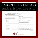 Student Information Sheet - Parent Friendly