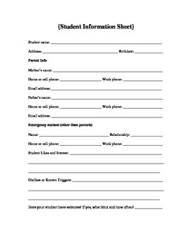 Student Information Sheet, Special Education, Thorough