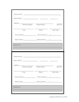 Student Information Sheet/ Student Application