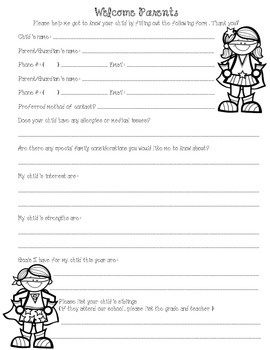 Student Information Sheet - Super Hero themed