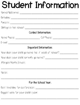 Student Information Sheet and Communication Log
