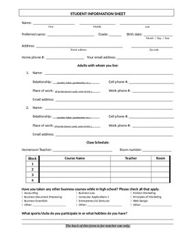 Student Information Sheet and Correspondence Log