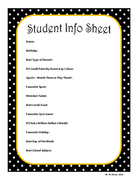 Student Information Sheet and Letter to My New Teacher