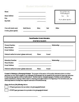 Student Information Sheet and Media Consent Form