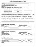 Student Information Sheet and Parent Communication Log