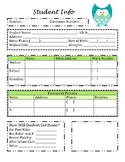 Student Information Sheet and Parent Communication Sheet Owl Theme
