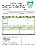 Student Information Sheet and Parent Communication Sheet O
