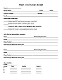 Student Information Sheet and Parent Contact List