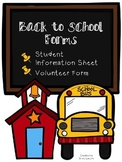 Student Information Sheet and Parent Volunteer Form - Editable