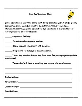 Student Information Sheet and Volunteer Sheet