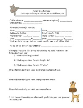 Student Information Sheet for Back to School