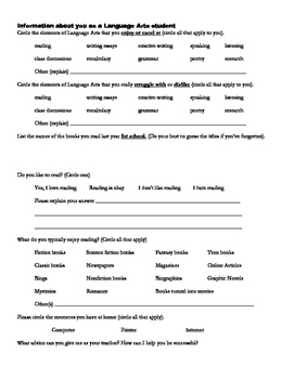 Student Information Sheet for Beginning of the Year