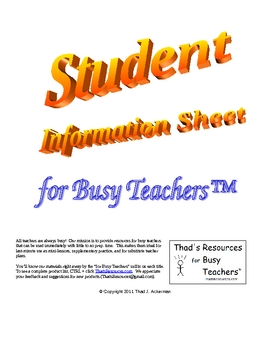 Student Information Sheet for Busy Teachers
