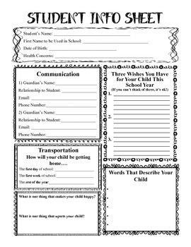 Student Information Sheet for Meet the Teacher Night
