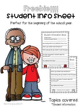 Student Information Sheet for Parent