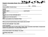 Student Information Sheet for Social Studies Civics Class worksheet