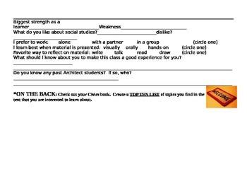 Student Information Sheet for Social Studies Civics Class worksheet