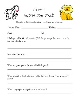 Student Information Sheet for Welcome Packet