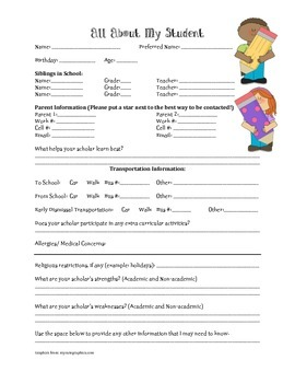 Student Information Sheet for the Beginning of the Year Printable!