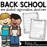 Student Information Sheet {editable freebie}