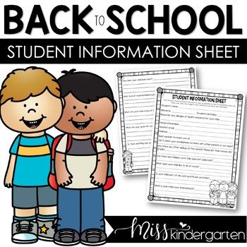 Student Information Sheet {editable freebie}