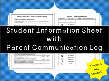 Student Information Sheet in English and Spanish