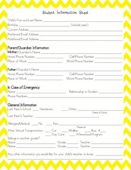 Student Information Sheet with Chevron Background