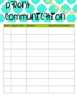 Student Information Sheet with Parent Communication Log