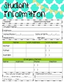 Student Information Sheet with Parent Communication Log
