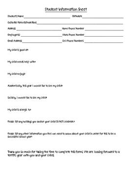 Student Information Sheet/Form