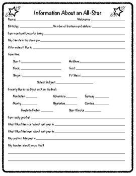 Student Information Sheet/Student Interest Survey/Inventory