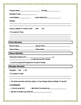 Student Information Sheets