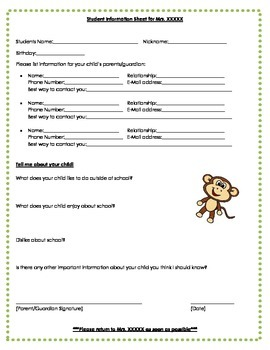 Student Information Sheets Assessment Data and Monitoring Data